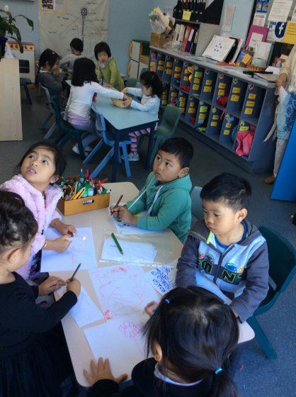 Preschoolers creating art