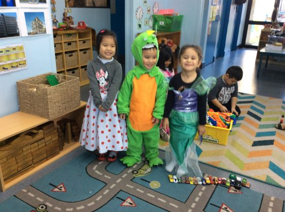 Preschoolers playing dress up