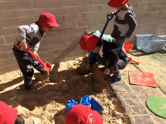 Preschool working together to find treasure