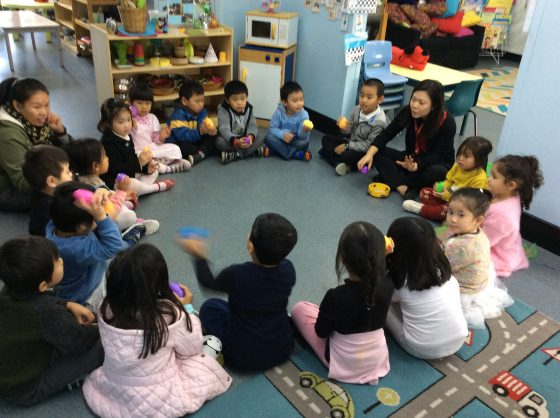 Preschoolers learning musical instruments