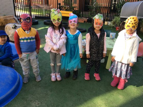 Preschoolers wearing Masks